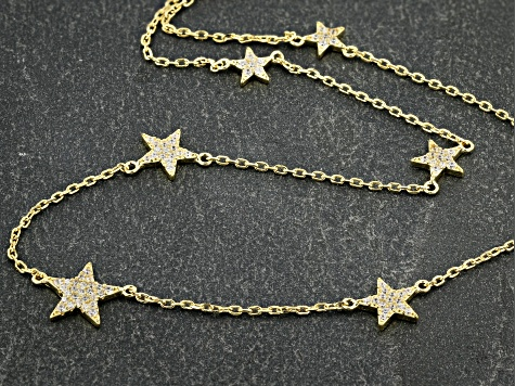White Cubic Zirconia 18k Yellow Gold Over Sterling Silver Star Necklace 0.88ctw