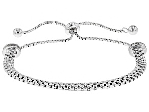 White Cubic Zirconia Rhodium Over Sterling Silver Bolo Bracelet 0.72ctw
