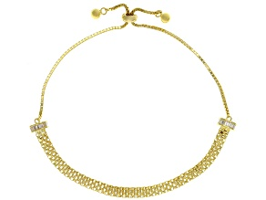 White Cubic Zirconia 18K Yellow Gold Over Sterling Silver Bolo Bracelet 0.72ctw