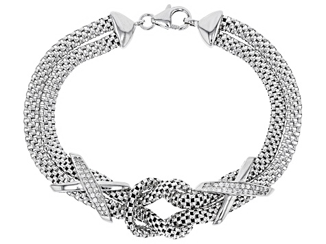 White Cubic Zirconia Rhodium Over Sterling Silver Knot Bracelet 0.52ctw