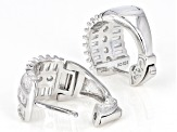 White Cubic Zirconia Rhodium Over Sterling Silver Huggie Earrings 4.49ctw