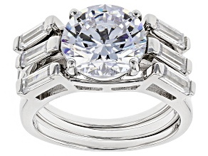 White Cubic Zirconia Rhodium Over Sterling Silver Center Design Ring With Bands 7.99ctw