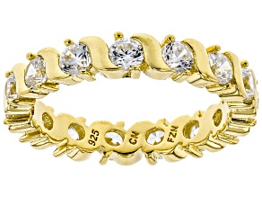 White Cubic Zirconia 18K Yellow Gold Over Sterling Silver Band Ring 2.74ctw