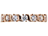 White Cubic Zirconia 18K Rose Gold Over Sterling Silver Band Ring 2.74ctw
