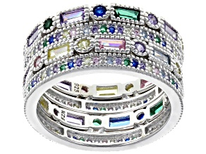 Emerald Simulant, Lab Created Blue Spinel, & Multicolor Cubic Zirconia Rhodium Over Silver Rings
