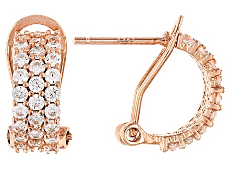 White Cubic Zirconia 18K Yellow, Rose Gold & Rhodium Over Silver Huggie Earrings 5.67ctw