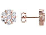 White Cubic Zirconia Rhodium, 18K Yellow, & Rose Gold Over Silver Floral Earrings Set Of 3