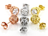 White Cubic Zirconia Rhodium, 18K Yellow and Rose Gold Over Silver Earrings Set of 3 6.44ctw