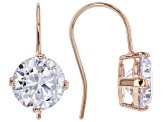 White Cubic Zirconia Rhodium and 18K Yellow And Rose Gold Over Silver Earring Set of 3