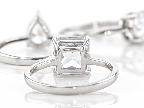 White Cubic Zirconia Rhodium Over Sterling Silver Rings Set of 3 13.62ctw