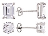 White Cubic Zirconia Rhodium Over Sterling Silver Earrings And Pendants With Chain Set of 4 22.04ctw