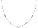 White Cubic Zirconia Rhodium Over Silver Station Necklace 1.20ctw