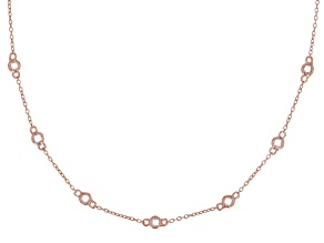 White Cubic Zirconia 18K Rose Gold Over Sterling Silver Station Necklace 1.20ctw