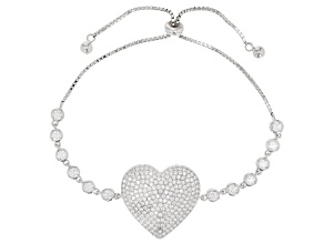 White Cubic Zirconia Rhodium Over Sterling Silver Adjustable Heart Bracelet 4.64ctw