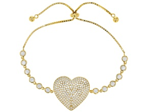 White Cubic Zirconia 18K Yellow Gold Over Sterling Silver Adjustable Heart Bracelet 4.64ctw