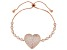 White Cubic Zirconia 18K Rose Gold Over Sterling Silver Adjustable Heart Bracelet 4.64ctw