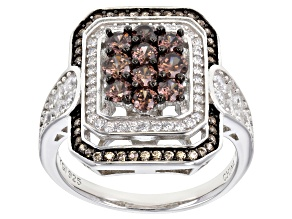 White, Yellow, and Brown Cubic Zirconia Rhodium Over Silver Ring 2.41ctw