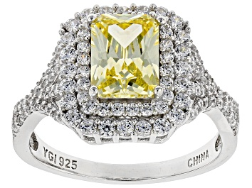 Picture of Yellow And White Cubic Zirconia Rhodium Over Sterling Silver Ring 4.24ctw