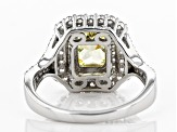 Yellow And White Cubic Zirconia Rhodium Over Sterling Silver Ring 4.24ctw
