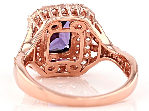 Purple And White Cubic Zirconia 18k Rose Gold Over Sterling Silver Ring 4.24ctw