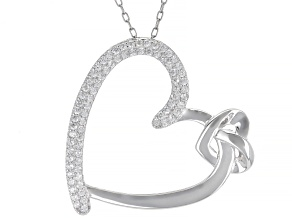 White Cubic Zirconia Rhodium Over Silver Heart Pendant With Chain 0.75ctw