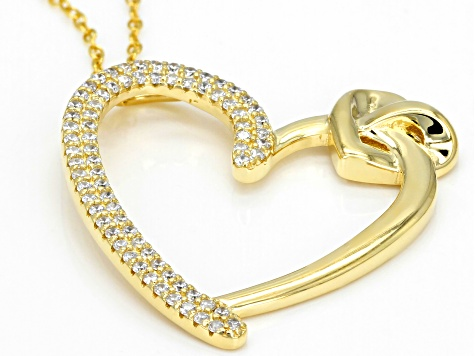 White Cubic Zirconia 18k Yellow Gold Over Sterling Silver Heart Pendant With Chain 0.75ctw