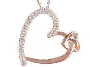 White Cubic Zirconia 18k Rose Gold Over Sterling Silver Heart Pendant With Chain 0.75ctw