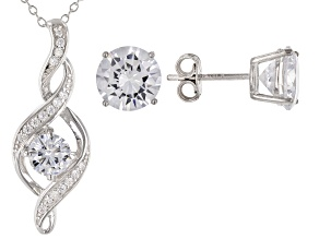 White Cubic Zirconia Rhodium Over Sterling Silver Pendant With Chain and Earrings 8.71ctw