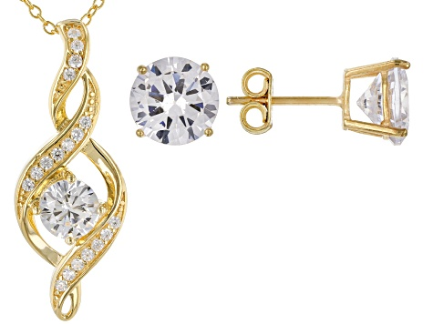White Cubic Zirconia 18K Yellow Gold Over Sterling Silver Pendant With Chain and Earrings 8.71ctw