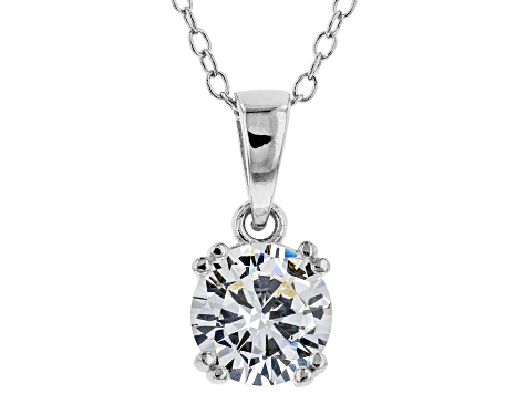 White Cubic Zirconia Rhodium Over Sterling Silver Earrings And Pendant With Chain 6.19ctw