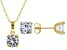 White Cubic Zirconia 18k Yellow Gold Over Silver Pendant With Chain and Stud Earrings 6.19ctw