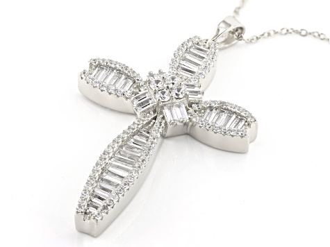 White Cubic Zirconia Rhodium Over Sterling Silver Cross Pendant With Chain 4.55ctw