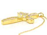 White Cubic Zirconia 18K Yellow Gold Over Sterling Silver Cross Pendant With Chain 4.55ctw