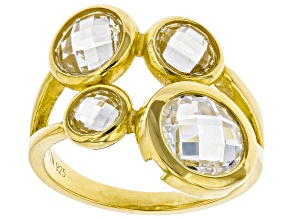 White Cubic Zirconia 18K Yellow Gold Over Sterling Silver Ring 7.46ctw