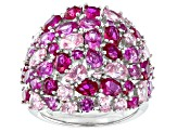 Pink Cubic Zirconia And Pink Lab Created Sapphire Rhodium Over Sterling Silver Ring 12.17ctw