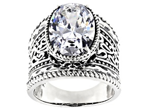 White Cubic Zirconia Rhodium Over Sterling Ring 13.30ctw