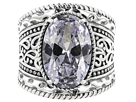 White Cubic Zirconia Rhodium Over Sterling Ring 10.00ctw