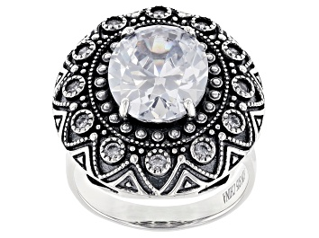 Picture of White Cubic Zirconia Rhodium Over Sterling Silver Center Design Ring 8.64ctw