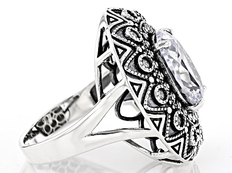 White Cubic Zirconia Rhodium Over Sterling Silver Center Design Ring 8.64ctw