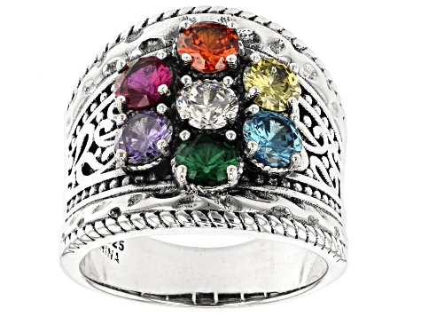 Multi Color Cubic Zirconia and Green Nanocrystal Rhodium Over Silver Ring 4.06ctw