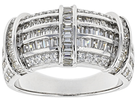 White Cubic Zirconia Rhodium Over Sterling Silver Ring 2.83ctw