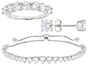 White Cubic Zirconia Rhodium Over Silver Adjustable Bracelet, Ring, and Earring Set 12.62ctw