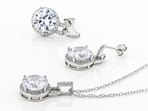 White Cubic Zirconia Rhodium Over Sterling Silver Pendant With Chain and Earrings 14.11ctw