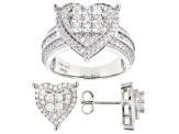 White Cubic Zirconia Rhodium Over Sterling Silver Ring And Earring Set 4.06ctw