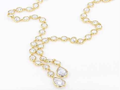 White Cubic Zirconia 18K Yellow Gold Over Sterling Silver Y Necklace 68.58ctw