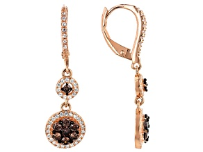 Brown And White Cubic Zirconia 18K Rose Gold Over Sterling Silver Drop Earrings 2.17ctw