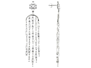 White Cubic Zirconia Rhodium Over Sterling Silver Dangle Earrings 18.44ctw