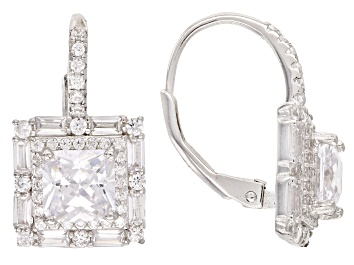 Picture of White Cubic Zirconia Rhodium Over Sterling Silver Drop Earrings 6.39ctw