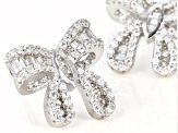 White Cubic Zirconia Rhodium Over Sterling Silver Bow Earrings 1.86ctw