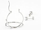 White Cubic Zirconia Rhodium Over Sterling Silver Hoop And Stud Earring Set 1.54ctw